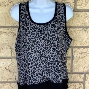 Two by Vince Camuto Tank Career Black Gray Leopard